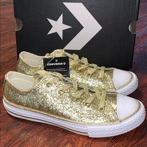 Converse All Star Girls Gold Glitter Shoes New